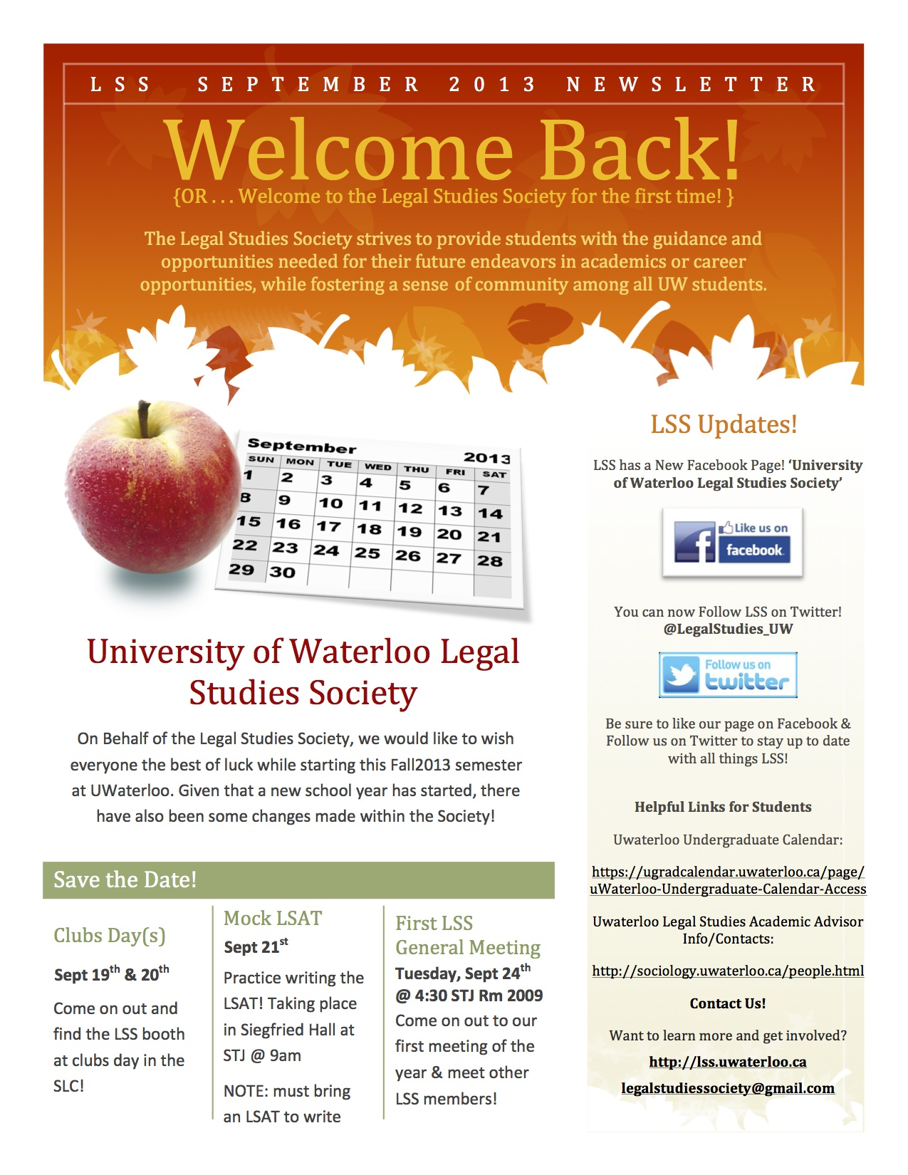 The LSS is excited to announce our new monthly Newsletters – Monthly Newsletter