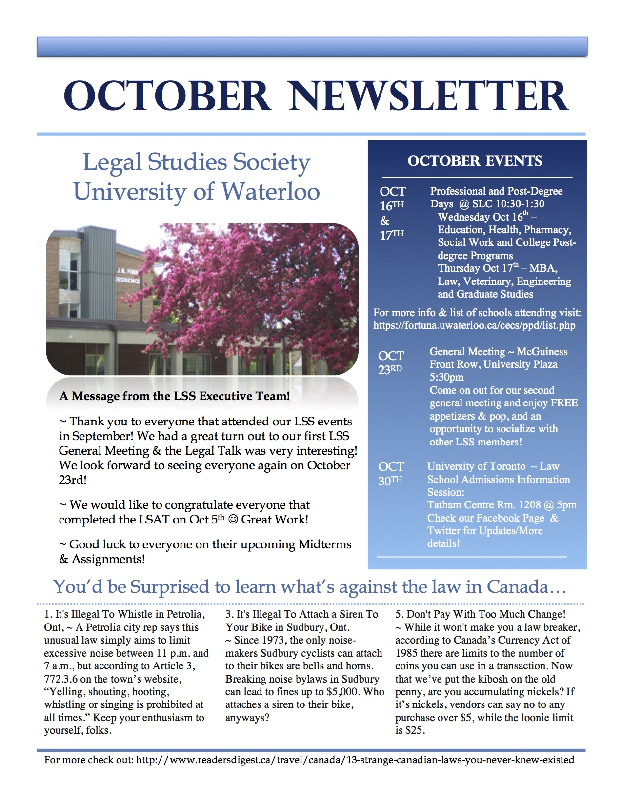 Monthly Newsletters Legal Studies Society